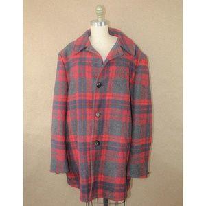 vtg Pendleton red plaid flannel wool coat